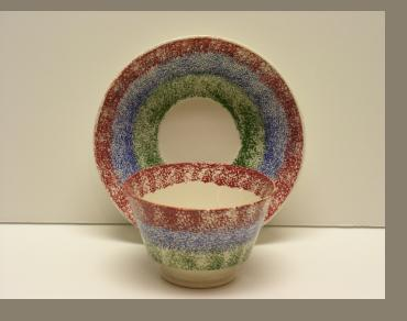 Rainbow Adams Spatter Cup and Saucer